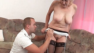 Grandma in stockings gets a facial - duration 5:00