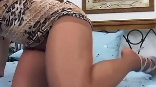 pantyhose - Pretty redhead in nude pantyhose fucking on a bed