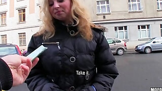 Shy blonde Czech girl agrees to take cash for a public and fuck - duration 12:00