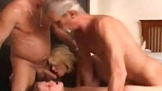 Granny wife and a young chick in a foursome - duration 16:00