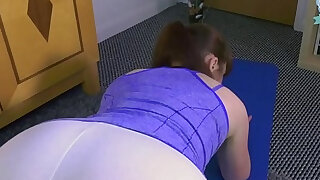 Son fucks stuck yoga mom and gives her a creampie - duration 17:00