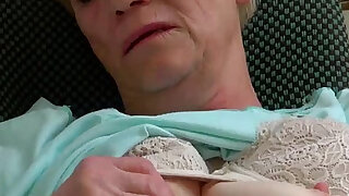Old granny masturbating her pussy with young girl and her dildo - duration 8:00