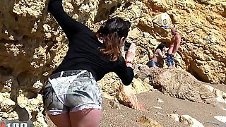 Voyeur girl invites herself into a couple beach fucking party - duration 31:00