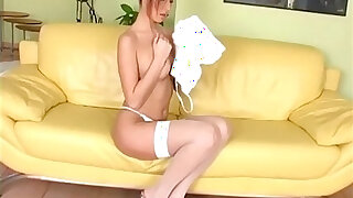 Fingering in thigh high stockings and panties - duration 6:00