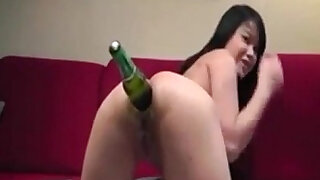 Asian Camgirl Inserting Beer Bottle In Her Ass - duration 7:00