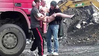 Cute teen school girl PUBLIC sex construction site gangbang threesome - duration 16:00