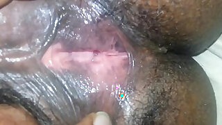 Playing around With Her Hairy Pussy Close - duration 1:03