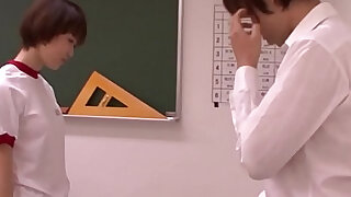 Young oriental schoolgirl blowing teacher - duration 5:00