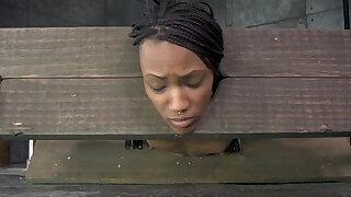 Bound black sub in yoke toyed as punishment - duration 6:00