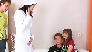 Lover assists with hymen checkup and screwing of virgin sweetie - duration 5:00
