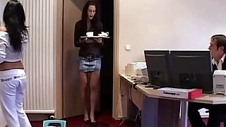 Maid and office assistant threesome with the boss - duration 6:00